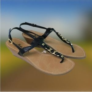 NEW T-Strap Wedge Sandals Miss Bisou 7